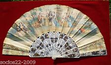 ANTIQUE IMPORTANT FRENCH MOTHER OF PEARL AND PAPER HAND FAN