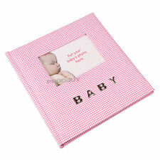 "Baby Girl Pink Gingham Photo Album 100 Photographs 6"" x 4"" Picture Book"