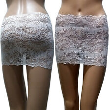 NEW Sexy Womens Floral Lace Tight Slim Fit Mirco Mini Underwear Skirt White 2XL