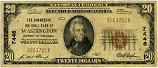 1929 Series The Commercial National Bank Of Washington DC $20 Note, ungraded