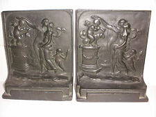 ANTIQUE THE ALTAR OF LOVE BOOKENDS CHERUBS ANGELS DOG LOVE COUPLE BOOK ENDS
