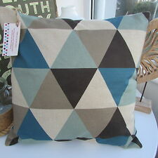 CUSHION COVER GEOMETRIC RETRO TRIANGLES DUCK EGG BLUE TEAL GREY TAUPE BRO.WNS a.
