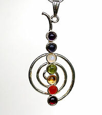 REIKI ENERGY CHARGED METAL PENDANT CHO KU REI SYMBOL NECKLACE CHAKRA GEM STONES