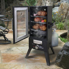 Meat Smoker Gas Propane Wood Chip Box Grill 36 In BBQ with Window Large Backyard