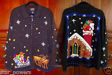 Ugly (NOT) Christmas Sweater Winner XXL 2X Womens Front Back Embellished Vintage