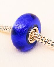 Deep Electric Blue Handmade Lampwork Foil Glass Bead Solid 925 Silver Core