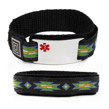 Medical Alert ID Bracelet, 12 lines. Free emergency wallet Card! Free engraving!
