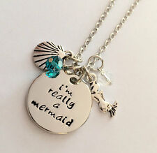 "Mermaid necklace ""I am really a mermaid"" necklace jewelry crystals From USA"