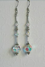 Long STERLING SILVER 925 Clear AB CRYSTAL EARRINGS SWAROVSKI Elements Bridal