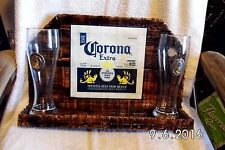 Corona Extra Handmade Rustic Wooden Bar Sign With Corona Glasses Original 2016