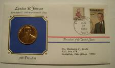 Bronze L B Johnson Presidential Medal  Gold Plated in Stamped Cover 1983