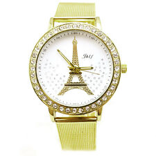 Hot Women LadiesWatch Crystal Tower Gold Stainless Steel Mesh Band Wrist Watch