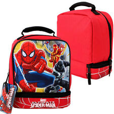 "MARVEL SPIDERMAN Dual Compartment Insulated 9"" Cooler Lunch Bag NWT"