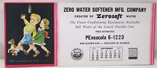 Vintage Ink Blotter Zero Water Softener MFG Co. Chicago USA 1957 Advertising