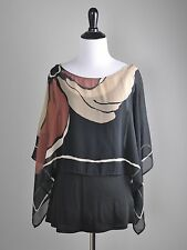 TINY Anthropologie $98 Flowy Sheer Cape Cotton Tank Blouse Top Size Small