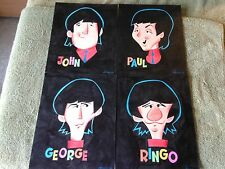 THE BEATLES 4-pc ORIGINAL ART SET 5x7 1965 TV CARTOON! By PATRICK OWSLEY !!