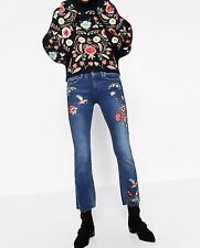 BNWT ZARA BLUE EMBROIDERED CROPPED JEANS SIZE EUR 34 UK 6