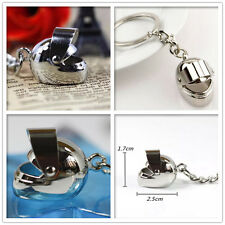 Motor Bike Helmets Keyring Stainless Steel Metal Chrome 3D Keychain Collectable