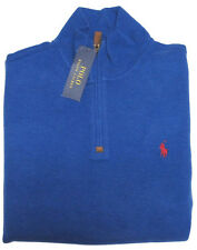 RL Polo Ralph Lauren Mens Pony Logo Mockneck Leather Fleece Half Zip Sweater