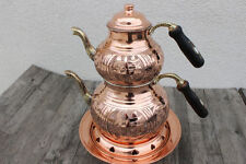 TURKISH TRADITIONAL HANDMADE  COPPER TEAPOT SET SEMAVER WITH FONDUE SET SAMOVAR