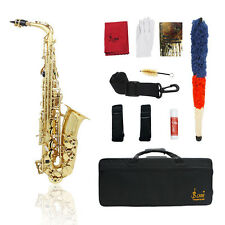 NEW PROFESSIONAL GOLD Bb CURVED SOPRANO SAXOPHONE SAX PACKAGE +TUNER MG