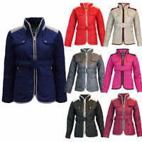 NEW LADIES QUALITY BELTED QUILTED WOMENS PADDED GOLD ZIP JACKET COAT SIZE 8 - 14