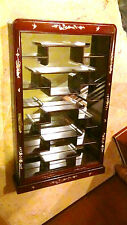 ANTIQUE CHINESE ROSEWOOD MIRRORED GLASS WALL HANGING CURIO,DISPLAY CABINET