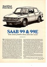 1973 SAAB 99 & 99E  ~  NICE ORIGINAL 3-PAGE OWNERS SURVEY / ARTICLE / AD