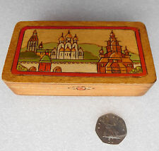 Vintage wooden cigarette box pictures of Russian Orthodox churches onion domes