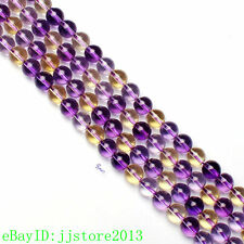 8mm Smooth Natural Ametrine Quartz Round Shape DIY Gemstone Loose Beads 15""