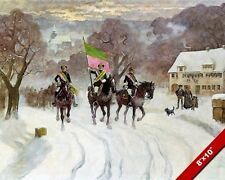 TUBINGEN CAVALRY CORP GERMAN WINTER MARCH GERMANY PAINTING ART REAL CANVAS PRINT
