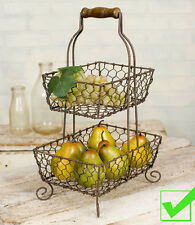 Two Tier WIRE BASKET rustic french country FRUIT BOWL stand display chicken wire