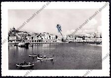 BARI BISCEGLIE 11 PORTO BARCHE Cartolina FOTOGRAFICA viaggiata 1952