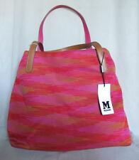 MISSONI Tote Bag Largge Orange/Pink/Gold Cotton w Leather Handles NWT