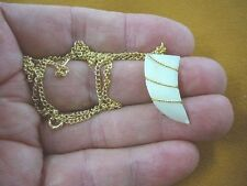 (J204-12) white Mother of pearl gemstone carved tooth PENDANT gold necklace