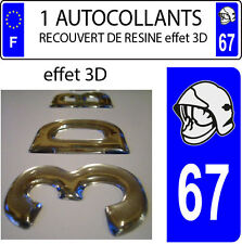 1 sticker plaque immatriculation auto DOMING 3D RESINE CASQUE DE POMPIER DEPA 67