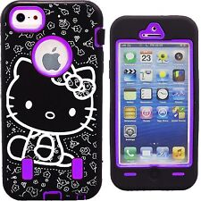 Purple Black Hello Kitty Case for Apple iPhone 5 5S Strong Shockproof Cover