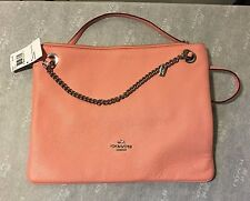 NWT Coach Pebbled Convertible Hippie Crossbody Shoulder Bag Silver Pink F52901