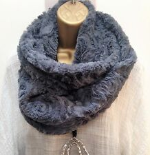 New Grey Soft Rose Embossed faux fur double wrap snood infinity scarf