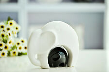 Pair of Elephants Figurines Ornaments Ceramic Mother and Son Figures White Red