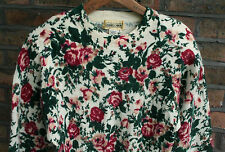 VTG 60s DANIEL CARON WOOL RABBIT HAIR FLORAL ROSE SWEATER JUMPER TOP SMALL 8/10