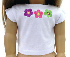 """White Shirt Top with Flowers made for 18"""" American Girl Doll Clothes"""
