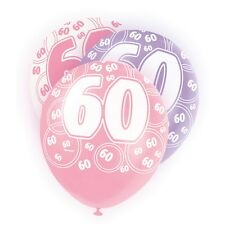 "6 Pink Sparkle Happy 60th Birthday 12"" Pearlized Printed Latex Balloons"