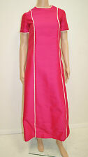 Vintage 1960's 70's Mod Go Go Scooter Fuchsia Pink Silk Prom Maxi Dress XS to S