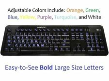 Ivation Large Print Multimedia USB Backlit LED Lighted Keyboard Multi-Colored