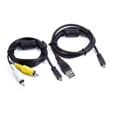 USB Data SYNC + AV A/V TV Video Cable Cord For Sony Cybershot DSC-W530 s/p W530b
