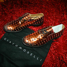 new GIACOMORELLI Stringata specchio rame borchie size 43 Made Italy .