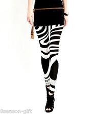 1 Sexy Black & White Zebra Stripe Spandex Tights Pants S