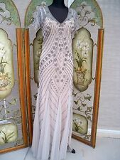 LONG TALL NUDE FULLY BEADED FORMAL DRESS GOWN RED CARPET GRAY OVER LIGHT PEACH
