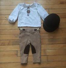 Janie And Jack Dress Equestrian Outfit, Riding Pants Shirt And Hat 12-18